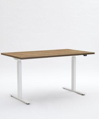 white frame with oak desktop