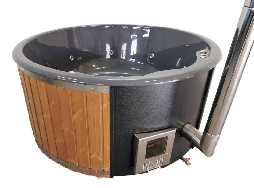 Dark grey tub with natural wood panels